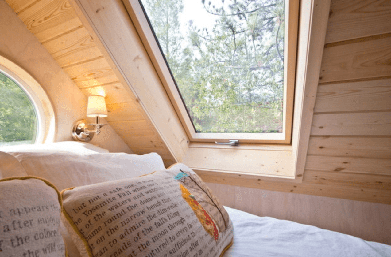 Tiny House With Loft red bungalow tiny house has a stand up office loft Image Via Houzz Vinas Tiny House Bedroom Loft