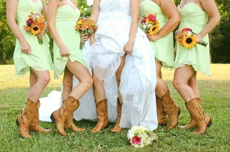 Southern Wedding Bridesmaids: Cowgirl Boot Looks