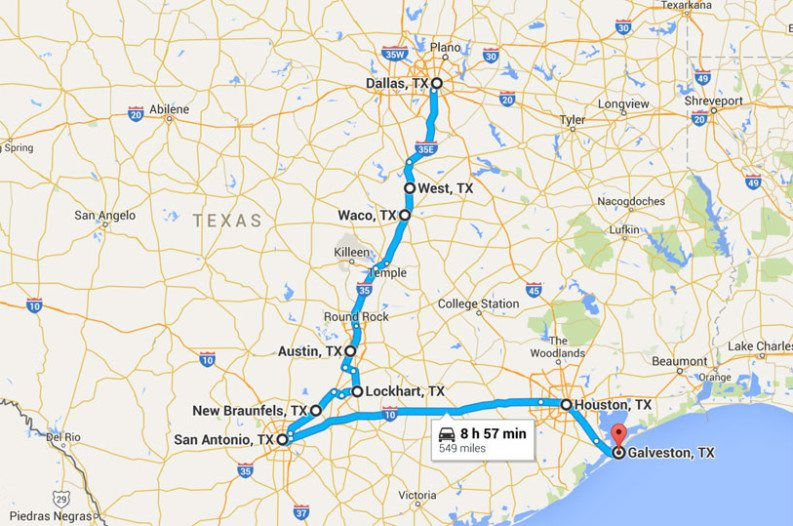 Road Map Of Austin Texas.The Ultimate Texas Road Trip For Foodies