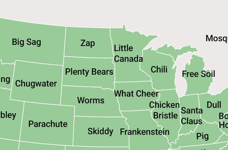Map Shows The Oddest Town Names In Each State