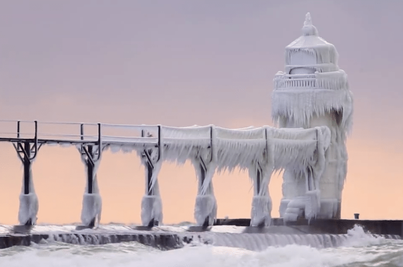This Frozen Michigan Lighthouse is a Stunning Winter Sight