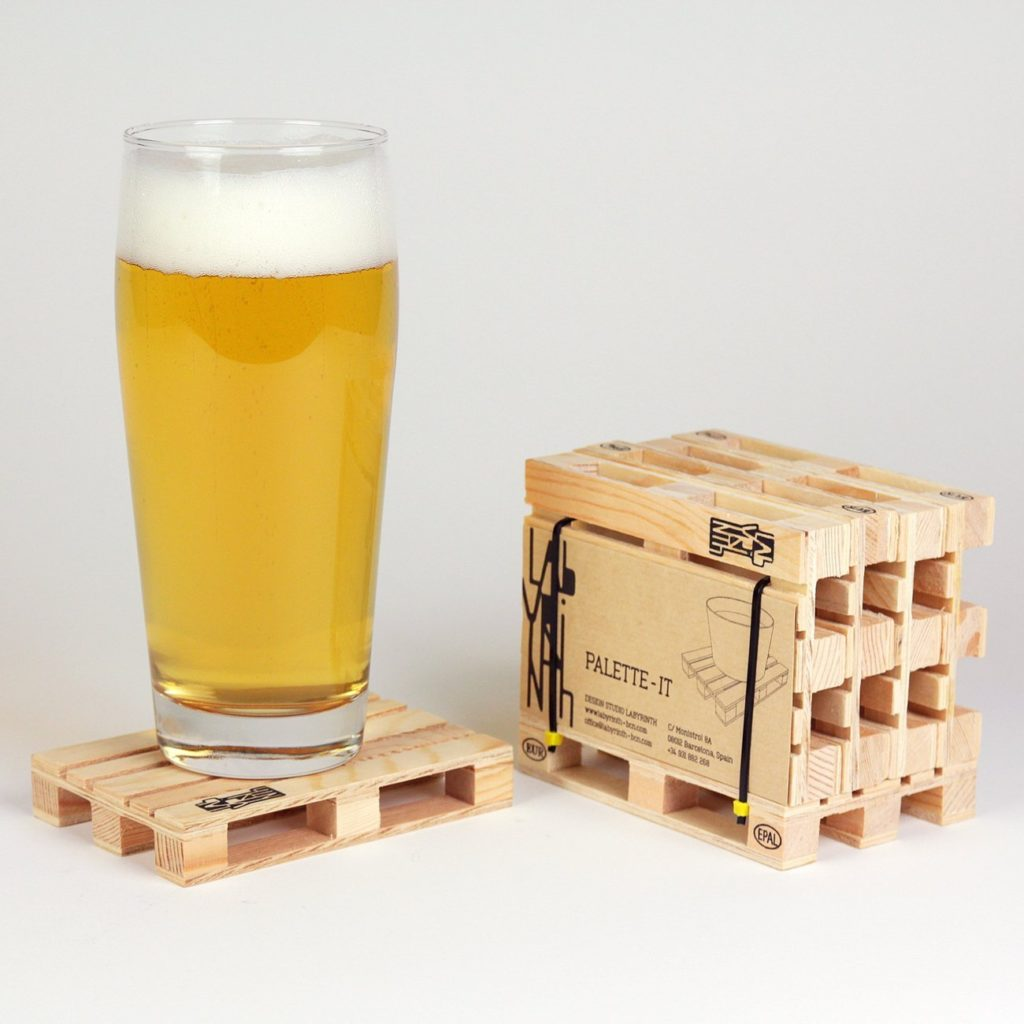 beer on wooden pallet coaster