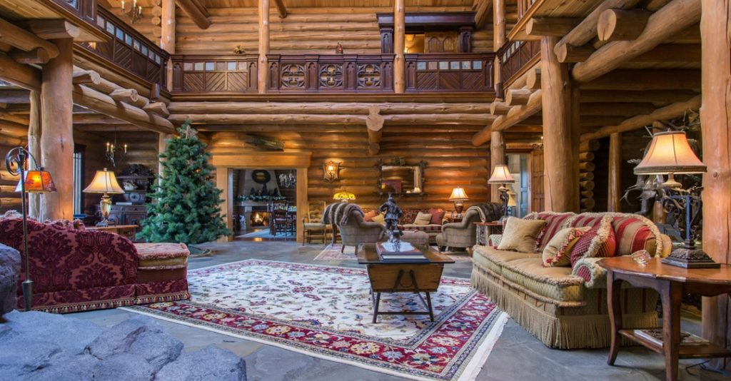 stunning log cabin living room | 8 of the Most Stunning Log Cabin Homes in America