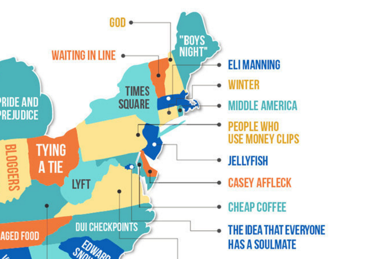 Here's a Ridiculous Map of Everything America Hates by State