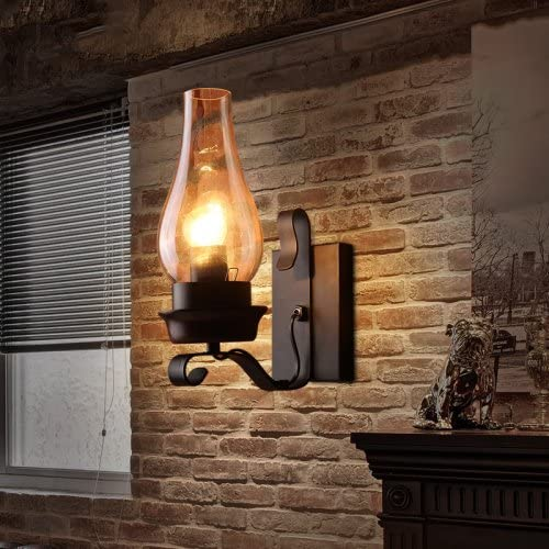LightInTheBox Retro Rustic Nordic Glass Wall Lamp Bedroom Bedside Wall Sconce Vintage Industrial Wall Light Fixtures (1pcs)