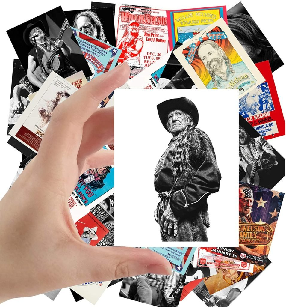"Large Stickers (24pcs 2.5""x3.5"") WILLIE NELSON Country Folk Music Posters Photos Vintage Magazine covers"