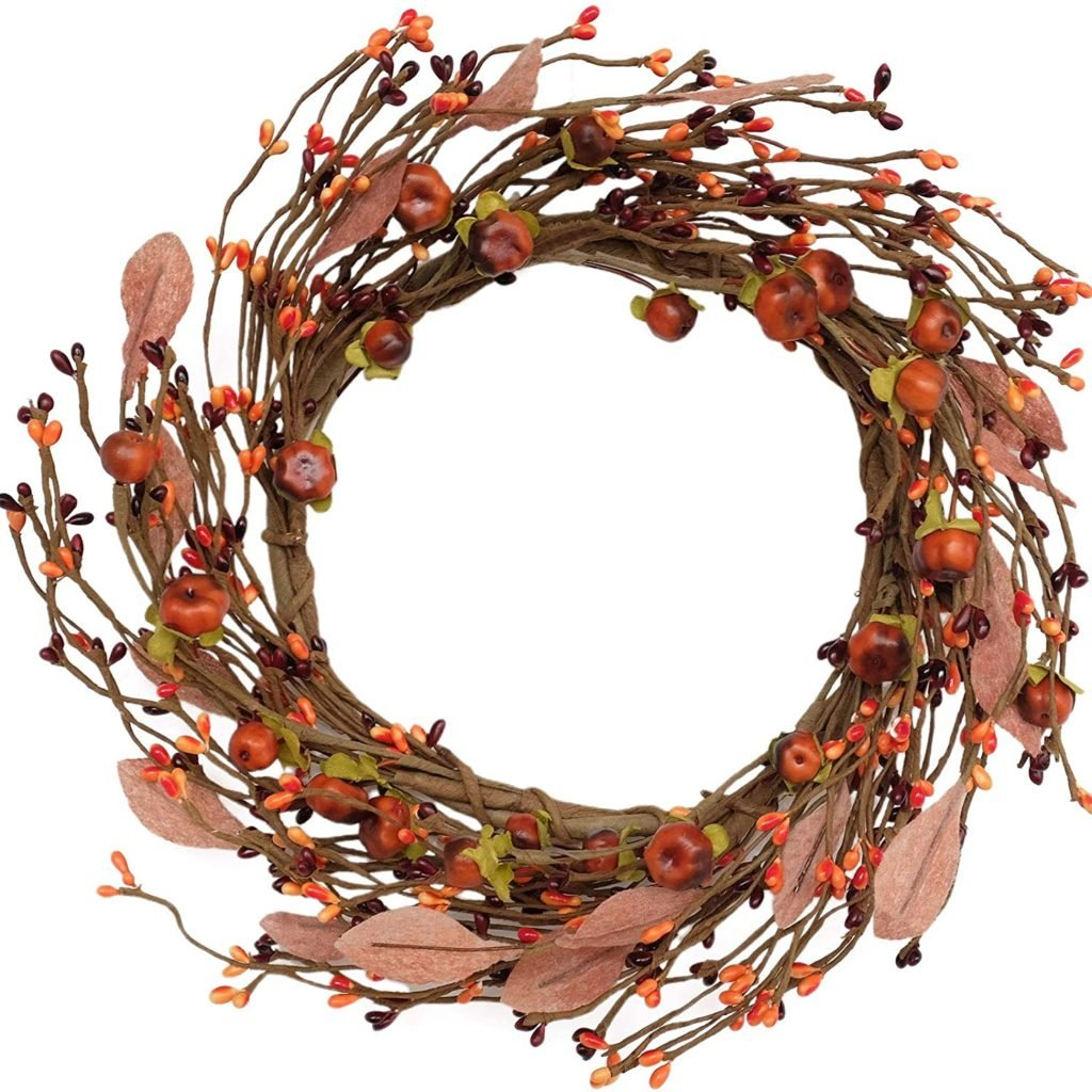 idyllic Mini Pumpkin Pip Berry Wreath for Front Door 12 inches Wreath Indoor Artificial Twig Wreath for Festival Celebration Party Decoration (1 Pack)